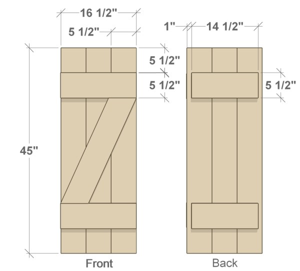 front and back DIY shutters