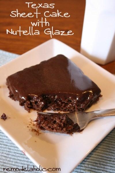 healthier texas sheet cake with nutella glaze, Remodelaholic