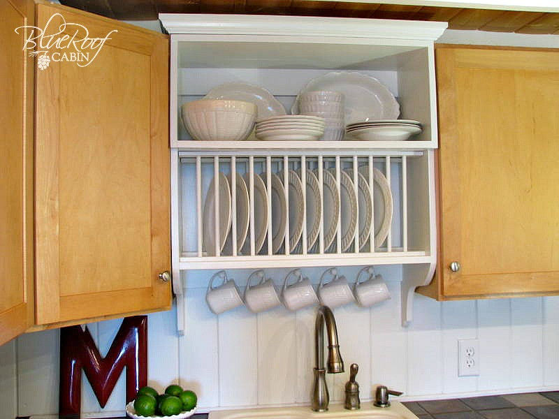 mix builder grade and custom cabinets with a custom plate rack shelf and cabinet & Remodelaholic | Upgrade Cabinets by Building a Custom Plate Rack Shelf