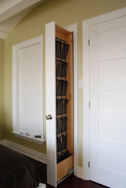 shoe storage ideas - hidden wall shoe organizer, via Hard Core Renos