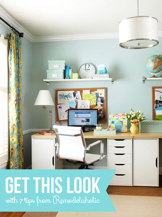 Get This Look - Easy Home Office Organization via Remodelaholic.com
