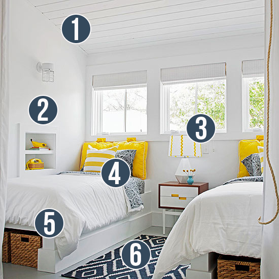 Get This Look - Yellow and Navy Shared Bedroom - 6 Tips from Remodelaholic.com