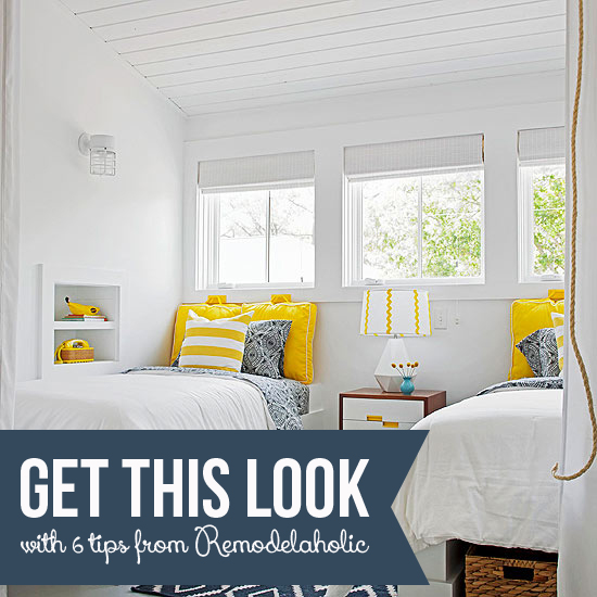 Get This Look - Yellow and Navy Shared Bedroom - Remodelaholic.com