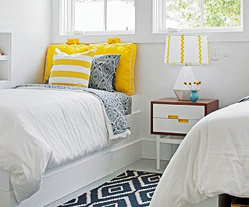 Get This Look - Yellow and Navy Shared Bedroom on Remodelaholic.com