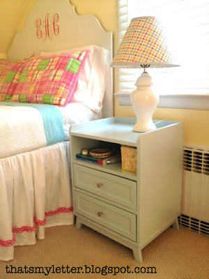 Land of Nod knock-off headboard and nightstand, That's My Letter via Remodelaholic.com