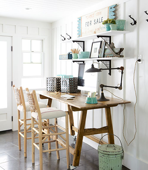 Home office wall shelving Floating Board And Batten Home Office With Wall Shelving Country Living Via Remodelaholic Remodelaholic Remodelaholic Get This Look Easy Home Office With Wall Shelving
