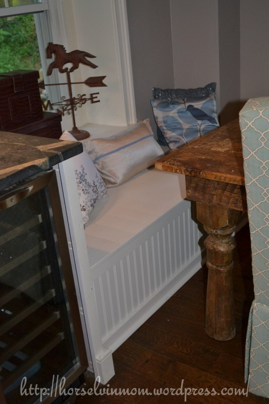 country kitchen banquette dining bench, featured at Remodelaholic.com