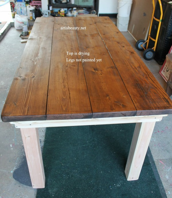 diy farmhouse table with provincial stained top, featured on Remodelaholic.com