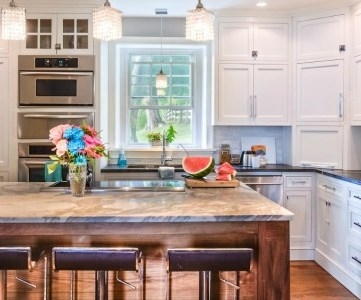 white country kitchen remodel with chrome barstools