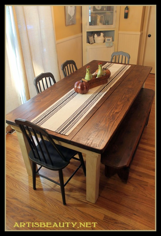 how to build a beautiful DIY farmhouse table, featured on Remodelaholic.com