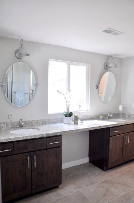 remodelaholic elegant master bath remodel with built in shelving rh remodelaholic com Grey Bathroom Remodel Small Bathroom Remodeling Ideas