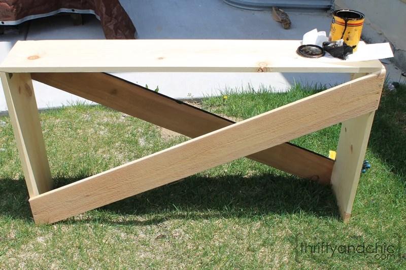 remodelaholic stylish and simple diy sofa table rh remodelaholic com Simple Sofa Table Plans Simple Sofa Table Plans