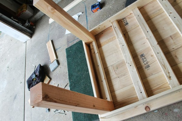 underside of unfinished diy farmhouse table, featured on Remodelaholic.com