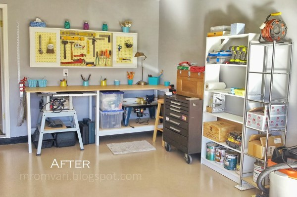 DIY tutorial - workbench and pegboard tool cabinet with sliding doors, featured on Remodelaholic.com