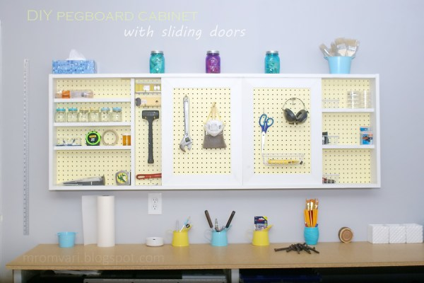 DIY Wall-Mount Organized Pegboard Tool Cabinet, featured on Remodelaholic.com #tutorial #organized #garage