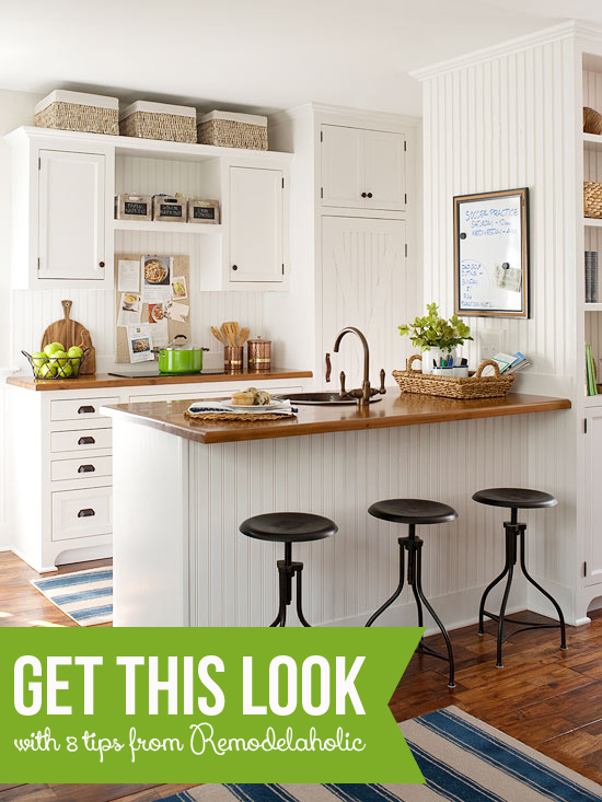 Tips to Get This Look - Warm Wood Tones in a White Kitchen via Remodelaholic