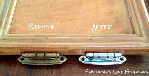 before and after chrome plated kitchen cabinet hinges, Fisherman's Wife Furniture featured on Remodelaholic.com