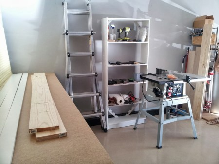 building the pegboard tool cabinet, featured on Remodelaholic.com