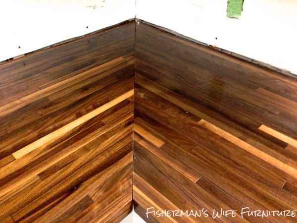 butcherblock countertops in a small kitchen makeover, Fisherman's Wife Furniture featured on Remodelaholic.com