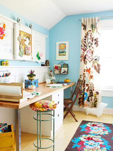 colorful shared home office and homework station thumb