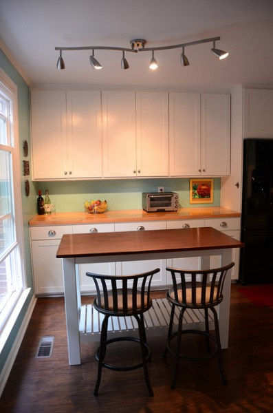custom open kitchen island, New Green Mama via Remodelaholic.com