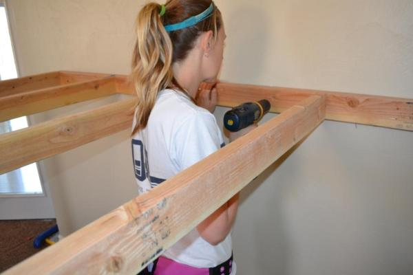 how to build an indoor tree house play loft and screw into the studs, I Am Hardware featured on Remodelaholic