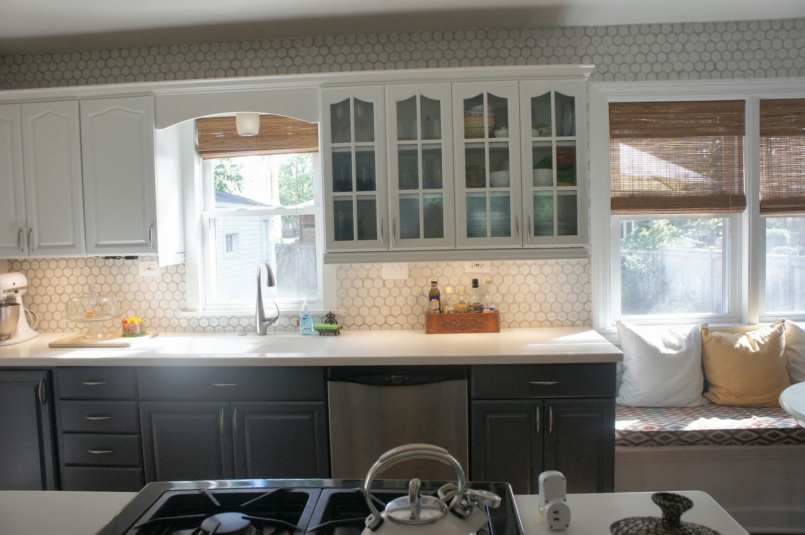 grey kitchen tile remodelaholic gray and white kitchen makeover with 1505