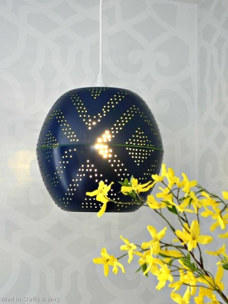 knock-off West Elm perforated globe pendant from bowls diy tutorial, Mad In Crafts via Remodelaholic