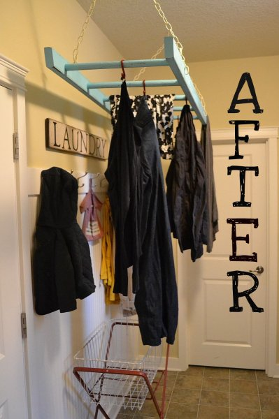 old ladder as hanging laundry organizer, Little Lucy Lu on Remodelaholic