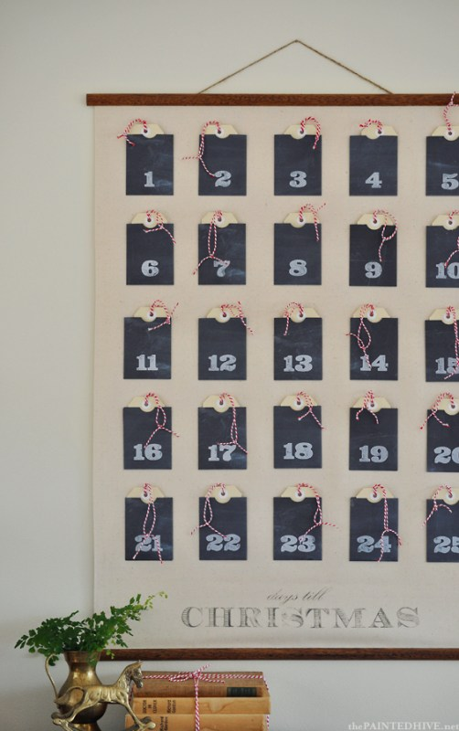 paper wall pocket printable advent calendar, The Painted Hive via Remodelaholic