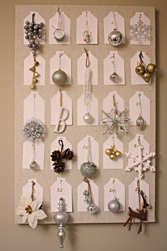 pinboard and tree ornament advent calendar, Bower Power via Remodelaholic