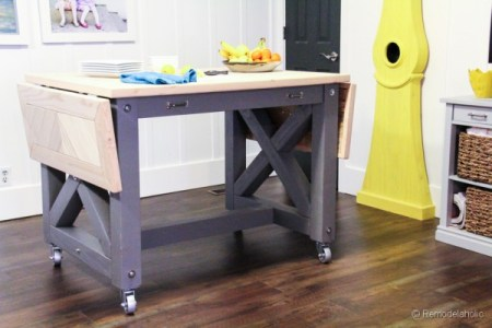 Pottery Barn inspired kitchen island with casters, Remodelaholic