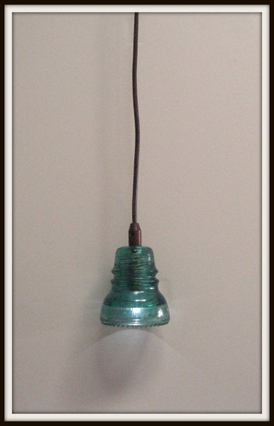 recycled glass insulator pendant light diy tutorial, Girl In Air featured on Remodelaholic