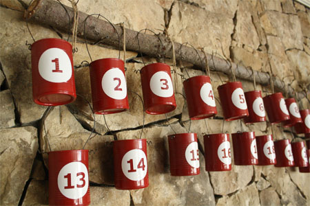 recycled tin can advent calendar, Skip To My Lou via Remodelaholic