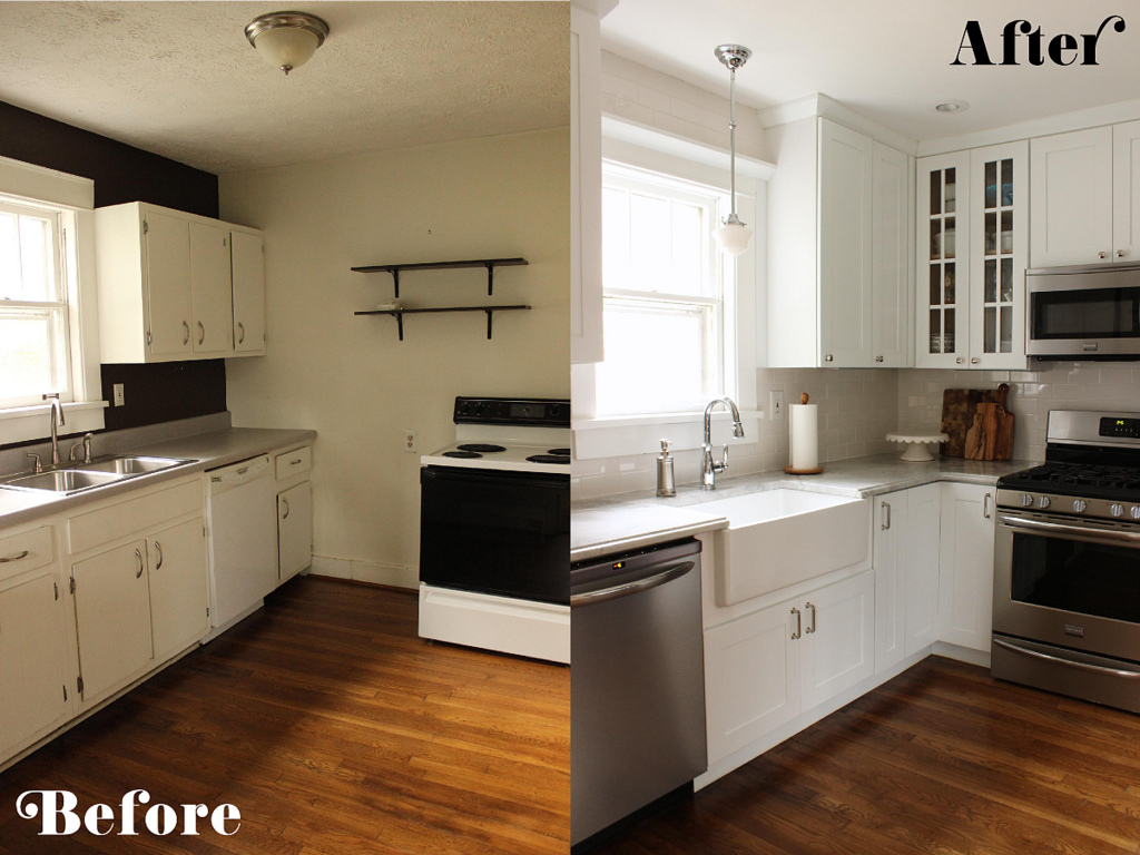 Remodeled Small Galley Kitchen, Fabric Paper Glue Via Remodelaholic