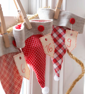 santa hat advent calendar garland, Better Homes and Gardens via Remodelaholic