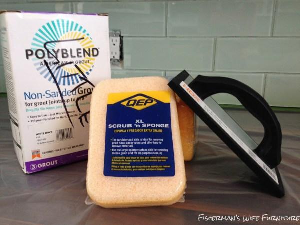 supplies for installing glass subway tile backsplash, Fisherman's Wife Furniture featured on Remodelaholic.com