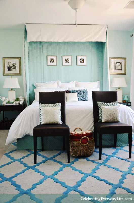 turquoise and white bedroom, Celebrating Everyday Life