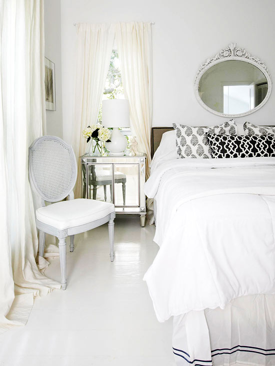 white on white master bedroom, Better Homes and Gardens