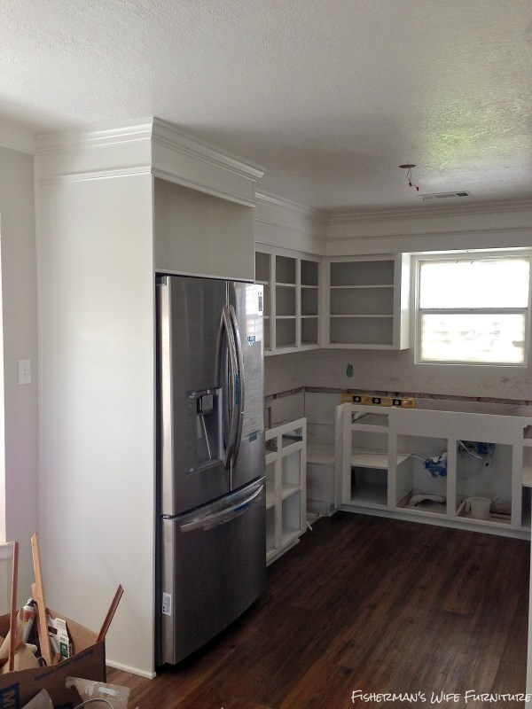 white painted kitchen remodel, Fisherman's Wife Furniture featured on Remodelaholic.com
