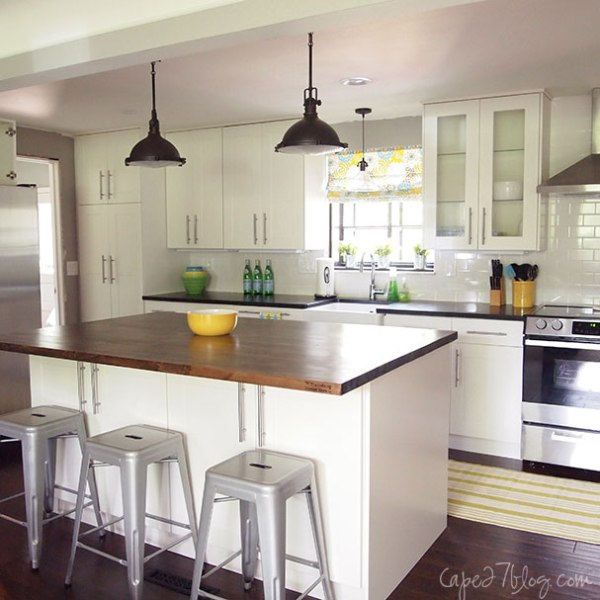 wood and white ranch kitchen, featured on Remodelaholic