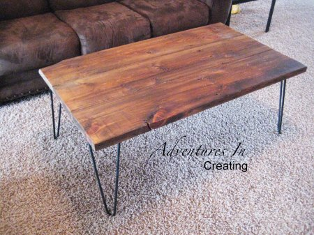 wooden coffee table with hairpin legs, Adventures in Creating via Remodelaholic