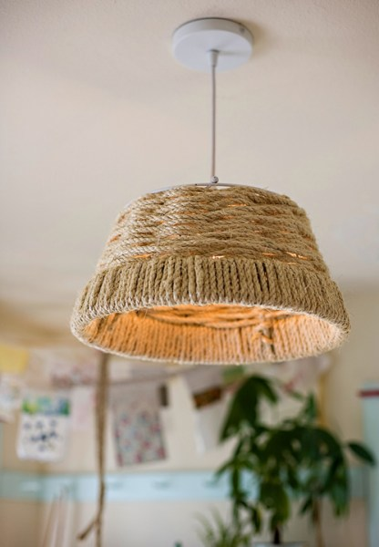 woven rope pendant lamp diy tutorial, AshleyAnn Photography featured on DesignSponge via Remodelaholic