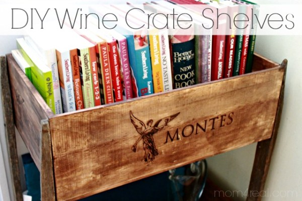 DIY Wine Crate Shelves, Mom4Real featured on Remodelaholic