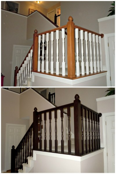 How to Redo an Oak Stair Banister in Java Using Gel Stain, Semi-Domesticated Mama featured on Remodelaholic