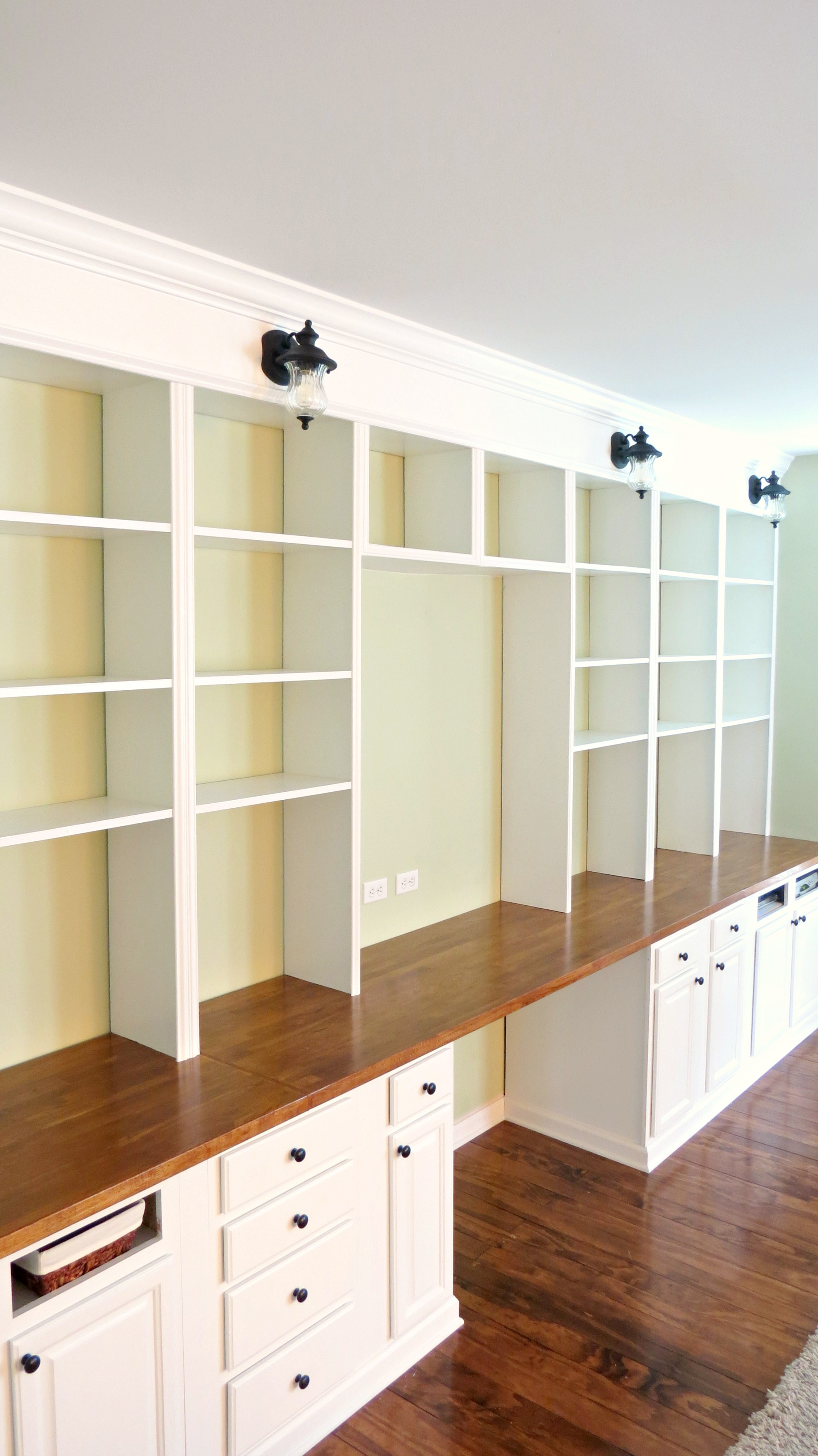 Remodelaholic  Build A Wall-to-Wall Built-In Desk and Bookcase
