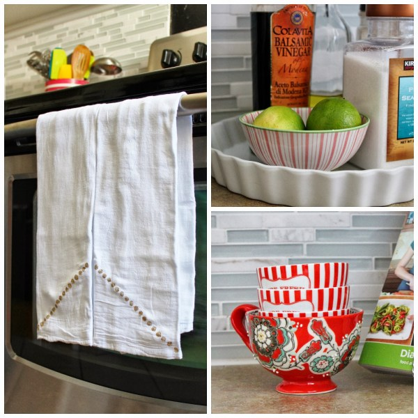 colorful accessories for a grey and white kitchen, House For Five featured on Remodelaholic