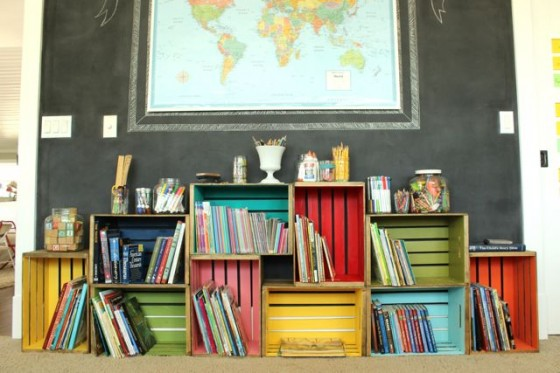 colorful crate bookshelf the pleated poppy via remodelaholic - Using Crates As Bookshelves