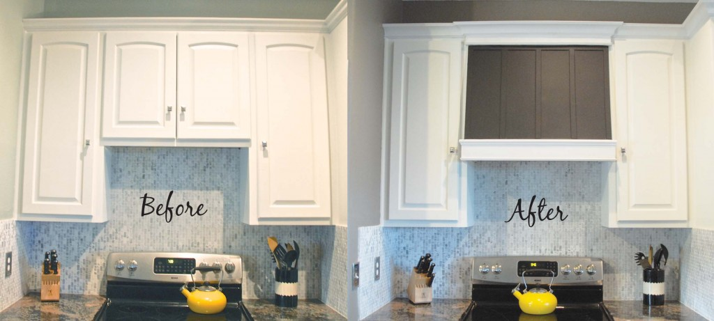 Remodelaholic how to diy a custom range hood for under 50 diy custom range hood before and after the rozy home featured on remodelaholic solutioingenieria Images