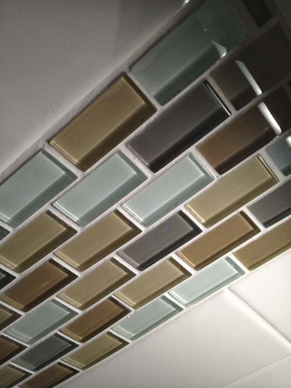 glass accents in a tile backsplash, SoPo Cottage featured on Remodelaholic